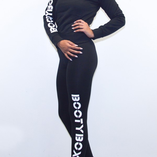 Black stretch cotton leggins full length